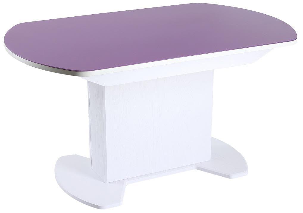 Стеклянный кухонный стол на одной ножке