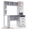 Компьютерный стол №6 (SV) Цемент светлый/Белый
