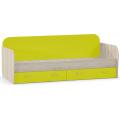 0 Кровать Ника 424 (80х200) (mobi) Бук Песочный/Лайм Зеленый