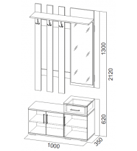 Вешалка с зеркалом 1,0 м (Прихожая мод. система №3 SV)