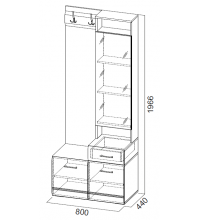 Вешалка с зер. 1966 (0,8м) (Прихожая мод. система №1 SV)