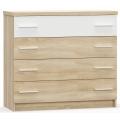Комод 4 ящика (спальня Лагуна 2) Дуб Сонома/Белый глянец