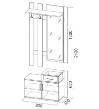 Вешалка с зеркалом 0,8 м (Прихожая мод. система №3 SV)