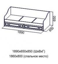 Кровать ДМ-09 (80х186) (Детская Вега)