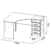Стол компьютерный №10  (Зеркальный) (SV)