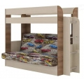 Кровать двухъярусная Карамель 75 + Нижний диван ясень шимо темный/ясень шимо светлый с тканью Машины