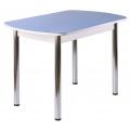 Стол ПГ-01 (Прямые ноги)(СТ) Серое, голубое, ноги хром прямые