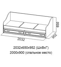 Кровать ДМ-09 (90х200) (Детская Вега)