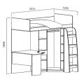 Кровать 2-х яр. комбин. (Детская город) (90х200) схема