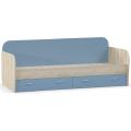Кровать Ника 424 (80х200) (mobi) Бук Песочный/Капри Синий