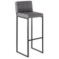 Барный стул Пилигрим (СТ) темно-серый прострочка, каркас металл черный