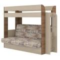 Кровать двухъярусная Карамель 75 + Нижний диван ясень шимо темный/ясень шимо светлый с тканью ГАЗЕТА