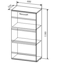 Пенал АШП600.1 (Асти белый глянец (ДСВ))