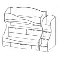 Кровать 2-х ярусная цветы (Акварель 1) схема